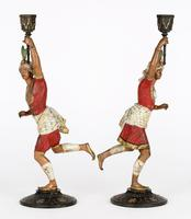 Pair of Continental, Probably French, Cold Painted Metal Figural Candlesticks (7 of 27)