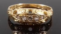 Antique Edwardian 18ct gold 5 stone diamond gypsy boat ring 1910 (2 of 6)