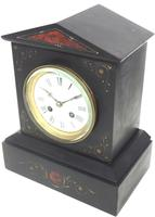 Antique French Slate Mantel Clock 8-Day Striking Mantle Clock with Red Marble & Gilt Decoration (5 of 9)