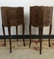 French Marquetry Kingwood Bedside Tables Rustic Distressed (2 of 13)