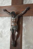 Large Oak Crucifix with Spelter Corpus Christi (5 of 10)