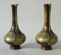Pair of Signed Japanese Meiji Overlaid Bronze Vases (5 of 8)