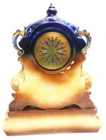 Antique 8-day Porcelain Mantel Clock Classical Blue & Earth Glazed French Mantle Clock (11 of 12)