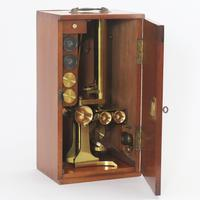 Mid 19th Century Cased Brass Bar-Limb Microscope with Magnifier c1850 (2 of 14)