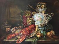 German 20th Century Oil Painting Banquet Red Lobster Serving Tray Peaches Grapes (20 of 23)