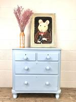 Small Victorian Blue Pine Painted Chest of Drawers (10 of 11)