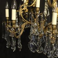 French Pair Bronze 12 Light Antique Chandeliers (9 of 11)