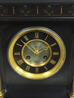 Antique French Slate Mantel Clock 8-Day Square Bracket Striking Mantle Clock with Gilt Decoration (6 of 11)