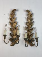 Pair of Vintage Florentine Giltwood Wall Lights (10 of 10)