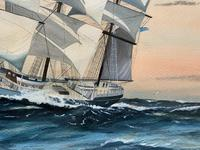 Awesome Tea Clipper Ship 'Hornet' Rough Seas Seascape Watercolour Painting c.1909 (9 of 12)
