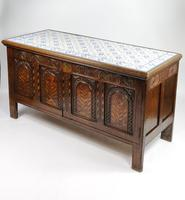 Decorative 17th Century Converted Inlaid Oak Coffer