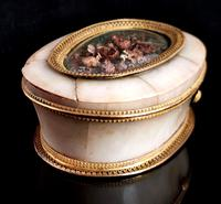 Antique French Jewellery Casket, Alabaster, Ormolu, Dried Flowers (4 of 13)