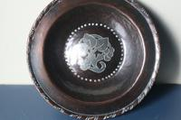 Arts & Crafts, Hugh Wallis Hammered Copper & Pewter Floral Inlay Dish c.1912. (7 of 22)