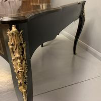 French black lacquer and brass bureau plat (7 of 11)