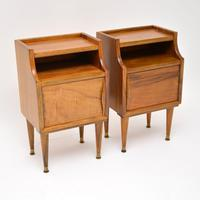 1960's Pair of Vintage Italian Walnut Bedside Cabinets (3 of 10)