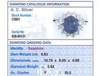 6.83ct Sapphire & 2.84ct Diamond, Platinum Dress Ring - Vintage c.1970 (6 of 8)