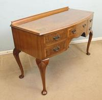 Burr Walnut Bow Front Writing Side Table (8 of 10)