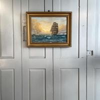 Antique Marine Oil Seascape Painting of Tall Sailing Ship at Sunset by Harry Noyes Lewis (10 of 10)