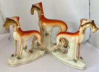 Superb Trio of Staffordshire Whippets c.1850 (5 of 13)