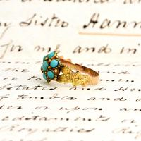 The Antique Victorian 1868 Seven Turquoise Ring (2 of 6)