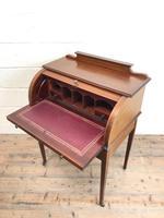 Antique Edwardian Mahogany Inlaid Cylinder Top Desk (8 of 14)