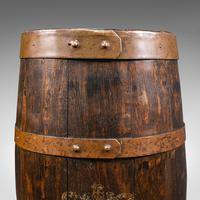 Antique Coopered Barrel Stick Stand, English, Oak, Hallway Portico, Victorian (8 of 12)