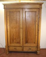 1900s Quality Country Pine 2 Door Wardrobe with Drawers (2 of 5)