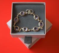 Old 925 Sterling Silver Amethyst Gem Set Link Bracelet - Boxed (7 of 8)