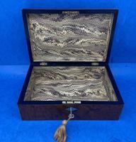 Victorian Nickel / Silver Bound Burr Cedar Box (8 of 11)