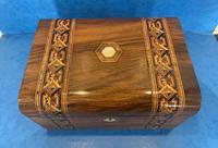Victorian Walnut Jewellery Box with Tunbridge Ware Inlaid Bands (4 of 11)