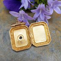 Antique Victorian 9ct Gold & Aquamarine Rectangular Locket Pendant (6 of 9)