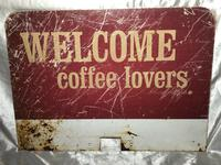Vintage Original Welcome Coffee Lovers Advertising Shop Business Sign (6 of 12)