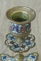 Good Pair of 19th Century French Enamel Champlevé Brass Candlesticks (4 of 6)