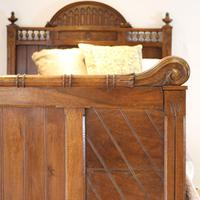 Gothic Style Single Walnut Antique Bed (4 of 8)