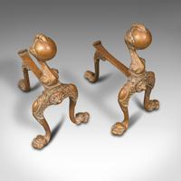 Pair  of Antique Decorative Fireside Tool Rests, French, Brass, Andiron, Victorian (6 of 12)