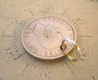 Vintage Pocket Watch Chain Fob 1948 Lucky Silver Sixpence Old 6d Coin Fob (8 of 8)