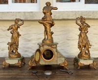 Elegant Tall 19th Century French Gilt Metal & Onyx Garniture Mantel Statue Clock Set (5 of 13)