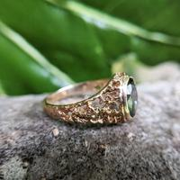 Vintage 9ct Yellow Gold Green Synthetic Spinel Dress Ring, Imitation Tourmaline (6 of 10)