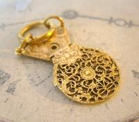 Georgian Pocket Watch Chain Fob 1830s Antique Brass Verge Balance Cock Fob (5 of 10)