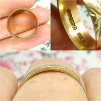 Vintage 9ct Solid Gold Engraved Wedding Band Dated London 1969~ Etched Ring (10 of 11)
