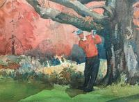 Leland Gustavson R.W.S Original Sporting Golfer Watercolour Painting (9 of 12)
