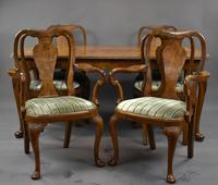 Queen Anne Style Burr Walnut Table & Chairs c.1920 (3 of 22)