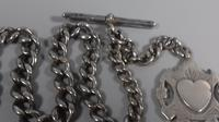 Edwardian sterling silver graduated albert fob pocket watch chain + heart medal 1902 (5 of 11)