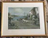Joseph Hughes Clayton Watercolour 'Cottage by the Sea' (2 of 2)