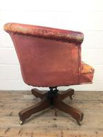 Antique Distressed Leather Swivel Armchair (8 of 8)