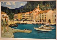 Italian lake scene oil painting by Godwin Bennett (5 of 8)