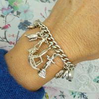 Vintage sterling silver English charm bracelet ~ 12 Charms & Heart padlock~ 50grams (6 of 8)