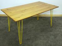 1960/70s Hairpin Legged Table With Later Pitch Pine Top (5 of 6)