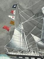 """Edwardian Watercolour """"Champion Of The Seas"""" Ship Black Ball Line Off Cape of Good Hope Signed Pierhead Artist Williams (18 of 39)"""