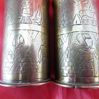 Unusual WW1 Pair of Small Trench Art Vase (2 of 2)